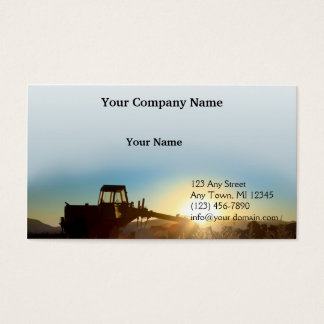 Tractor at Sunrise on a Blue Gradient Background Business Card