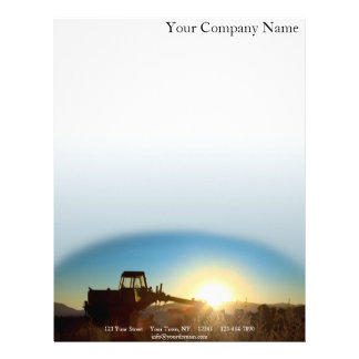 Tractor at Sunrise on a Blue Gradient Background Letterhead