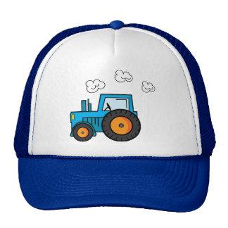 Tractor azul gorro de camionero