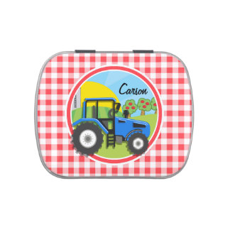 Tractor azul; Guinga roja y blanca Latas De Caramelos