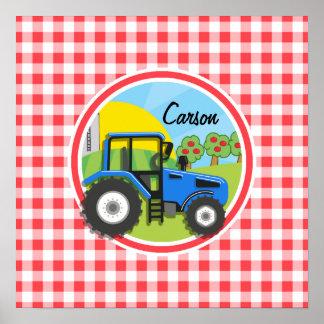 Tractor azul; Guinga roja y blanca Impresiones