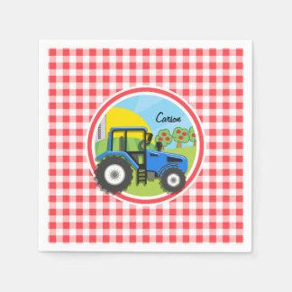 Tractor azul; Guinga roja y blanca Servilleta Desechable