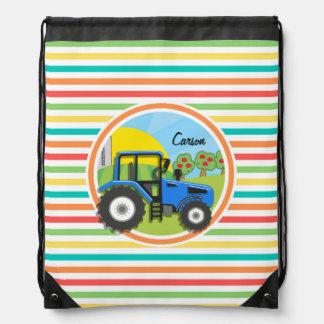 Tractor azul Rayas brillantes del arco iris Mochila