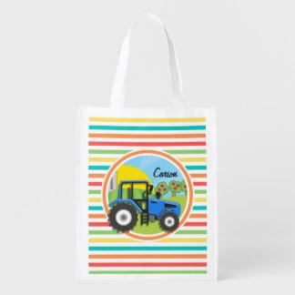 Tractor azul Rayas brillantes del arco iris Bolsa Reutilizable