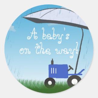 Tractor Baby Shower Envelope Seal Sticker