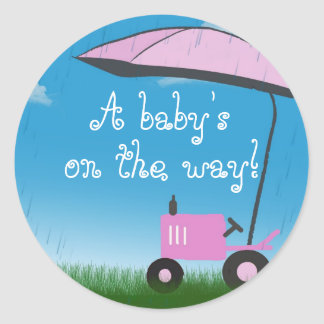 Tractor Baby Shower Envelope Seal Round Stickers