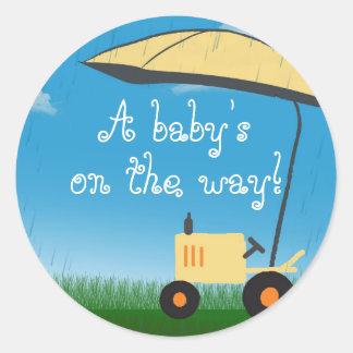 Tractor Baby Shower Envelope Seal Round Sticker
