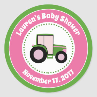 Tractor Baby Shower Favor Stickers Pink Girl