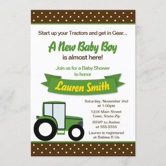 Tractor Baby Shower Invitation 5x7 Card