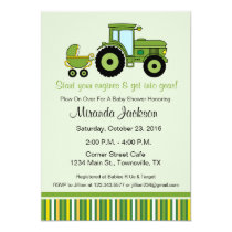 Tractor Baby Shower Invitation green