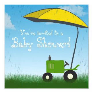"""Tractor Baby Shower Invitation: Green Tractor 5.25"""" Square Invitation Card"""