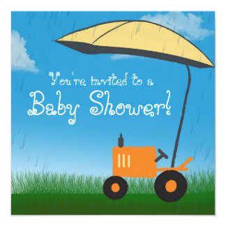 Tractor Baby Shower Invitation: Orange Tractor Card