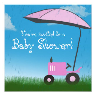 Tractor Baby Shower Invitation: Pink Tractor