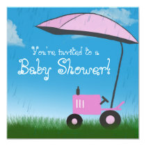 Tractor Baby Shower Invitation: Pink Tractor Invitation