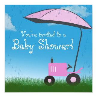 Tractor Baby Shower Invitation: Pink Tractor Invitation