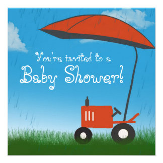 Tractor Baby Shower Invitation Red Tractor