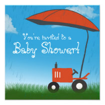 Tractor Baby Shower Invitation: Red Tractor Card