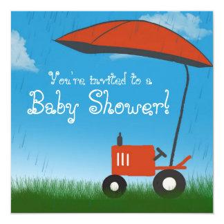Tractor Baby Shower Invitation: Red Tractor Invitation