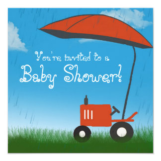 Tractor Baby Shower Invitation: Red Tractor Invitation