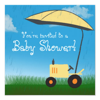 Tractor Baby Shower Invitation: Yellow Tractor Card