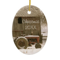 Tractor & Barn Christmas Ornament