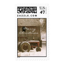 Tractor & Barn Christmas Stamp