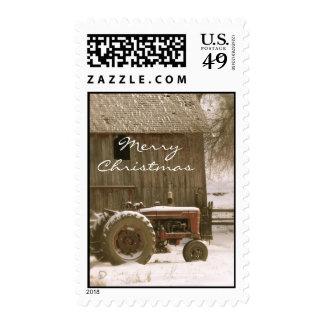 Tractor & Barn Christmas Stamp