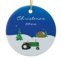 Tractor & Barn Custom Christmas Ornament