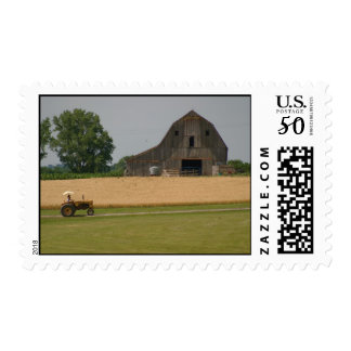 Tractor & Barn Postage Stamp