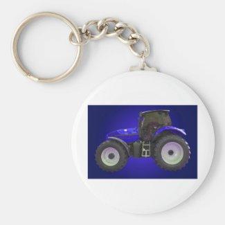 tractor basic round button keychain