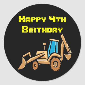 tractor, Birthday! Classic Round Sticker