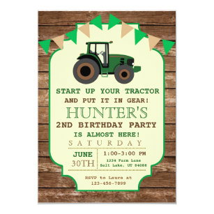 Boy birthday invitations 4900 boy birthday announcements invites tractor birthday invitation farm birthday card stopboris Gallery
