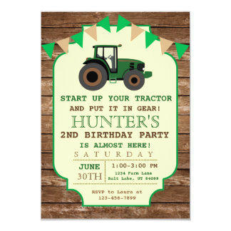Tractor Birthday Invitation, Farm Birthday Card