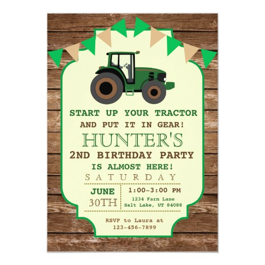 Tractor Birthday Invitation Farm Birthday Card Zazzlecom