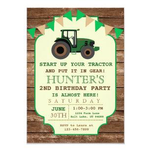 Tractor Birthday Invitation Farm