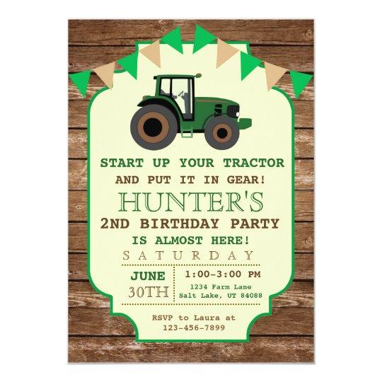 Tractor Birthday Invitation Farm Birthday Invitation Zazzlecom