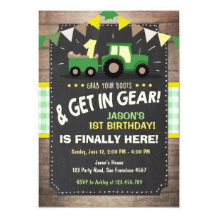 Tractor birthday invitations announcements zazzle tractor birthday invitation farm party boy green filmwisefo Choice Image