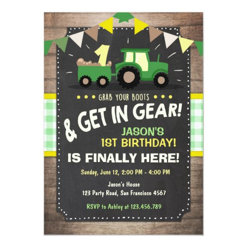 Tractor birthday invitation Farm party Boy Green
