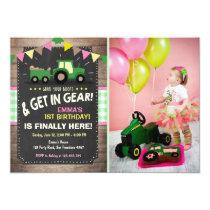 Tractor birthday invitation Farm party Girl pink
