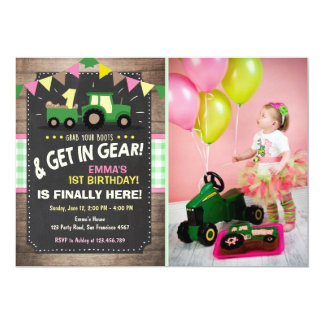 Tractor birthday invitation Farm party Girl pink