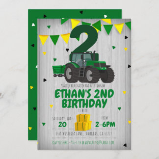 Tractor birthday invitation for any age