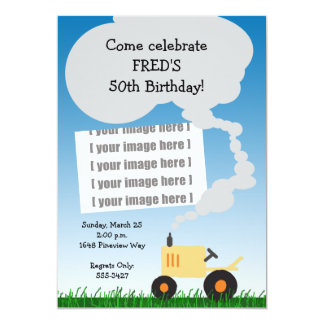 Tractor Birthday Invitation: Yellow Tractor Card
