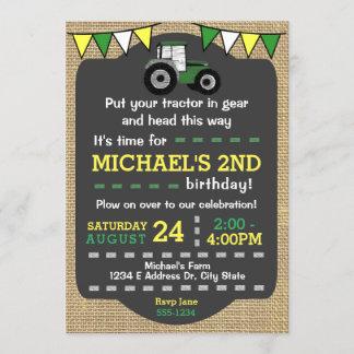 Tractor Birthday Invite, Green & Yellow Tractor Invitation