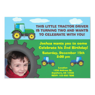 "Tractor Birthday Party Invitation 5"" X 7"" Invitation Card"