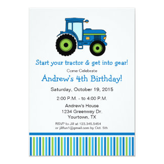 Tractor Birthday Party Invitation in blue
