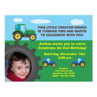 Tractor Birthday Party Invitation Postcard