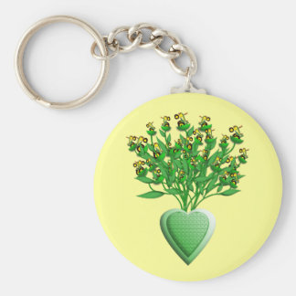 Tractor Bouquet with Green Heart Vase Keychain