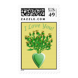 Tractor Bouquet with Green Heart Vase Postage