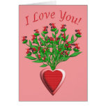 Tractor Bouquet with Red Heart Vase Card