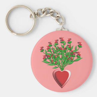 Tractor Bouquet with Red Heart Vase Keychain